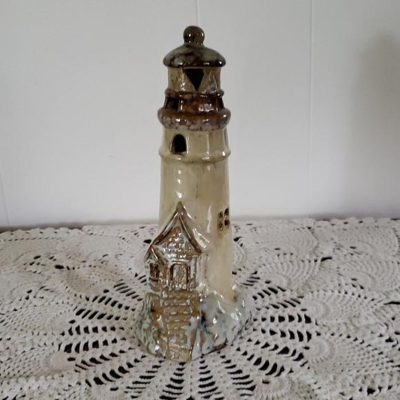 Vtg Porcelain Lighthouse Tealight Candle Holder